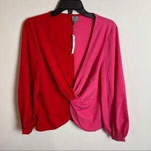 NWT ASOS front color block blouse size 8petite